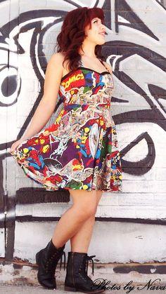 FALL SALE! Custom Marvel Comic Dress on Etsy, $45.00