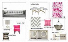 Contemporary & Clean Living Room - Trina Turk Greek key cushion, Robert Abbey chandelier, Arteriors lamp, silver leaf mirrored table, Jonathan Adler sofa.