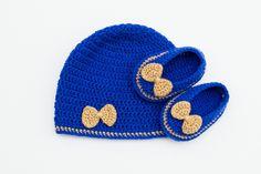 Royal Blue and Gold Crochet Baby Set, Hat and Ballerinas, Crochet Hat,Crochet…