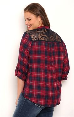 Plus Size Flannel Top with Roll Tab Sleeves and Lace Back