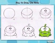 Have you ever wanted to learn how to draw Om Nom? Here is a pro tip, straight from the designers of Cut the Rope. Easy Cartoon Drawings, Doodle Drawings, Easy Drawings, Animal Drawings, Rope Drawing, Drawing Faces, Cut The Ropes, Funny Monsters, Doodles