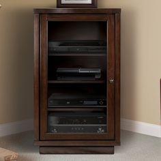 home theater Rack Products - Darby Home Co® Traditional Audio Rack with Glass Doors. Stereo Cabinet, Media Cabinet, Glass Cabinet Doors, Glass Shelves, Glass Doors, Room Above Garage, Audio Rack, Shelf System, Home Theater Rooms