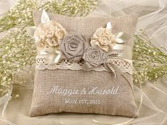Shabby Schick Pillow Wedding  Bearer Pillow Ring by DecorisWedding, $38.00   Inspirations | Bride & Groom