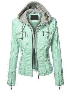 Lock and Love Women s Hoodie Faux Leather Rider Jacket L MINT. sedletzki ·  Cuir 874ac351362
