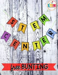 I love seeing all of the creative ways teachers decorate their classroom. And just like the rest of our room, we want our STEM center to be colorful and inviting as well! That's why I was excited to pull together a few colorful printables that would help you fancy up your STEM center. Grab the FREE printable STEM bunting and scientific method posters here! They're great to hang on a STEM center bulletin board so students can quickly refer to them later. #stemcenter #stemfreebies #stemboxes