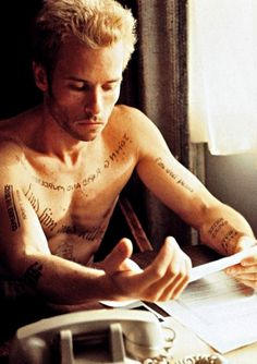 I have to admit (don't judge me!) I think Guy Pearce's tattoos in Memento are sexy.