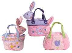 """Cute vintage flower print baby bunny in its own decorative quilted bag with carry handle. Perfect as a gift for a little girl. These cuddly bunnies are available in pink polka dot, pink flower and purple flower designs with matching bags. Approximately 7""""."""