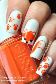 Cute fox nail art