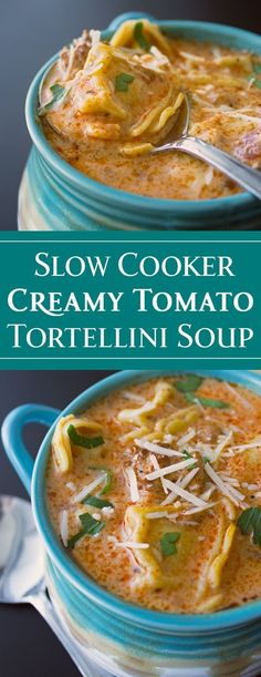 Slow Cooker Creamy Tomato Tortellini Soup via Michelle Varga (Dishes and Dust Bunnies) Crock Pot Recipes, Health Slow Cooker Recipes, Slow Cooker Hamburger Recipes, Sopa Crock Pot, Slow Cooker Freezer Meals, Slow Cooker Soup, Easy Chicken Recipes, Soup Recipes, Crockpot Dishes