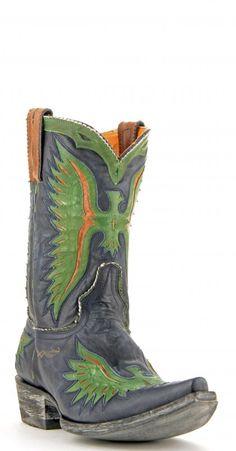 Men's Old Gringo Eagle Boots Blue/Grn/Or #M105-110