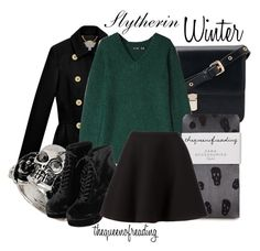 """""""Slytherin Winter"""" by thequeenofreading ❤ liked on Polyvore featuring Mulberry, BLK DNM, Zara, Topshop and Neil Barrett"""