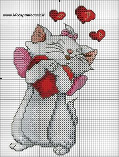 Marie from Aristocats Cat Cross Stitches, Cross Stitch Books, Cross Stitch Baby, Cross Stitch Animals, Cross Stitching, Disney Cross Stitch Patterns, Counted Cross Stitch Patterns, Cross Stitch Charts, Cross Stitch Designs