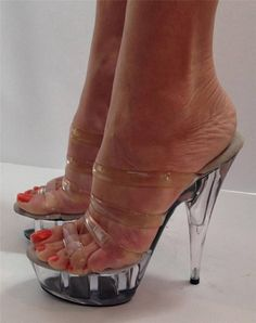 Clear mules and great feet