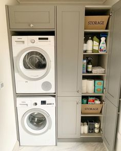 Trockner Laundry Room Ideas Washer Dryer Stacked - Laundry Room Ideas - How To Choose A Shelving Sys Washer Dryer Laundry Room, Laundry Cupboard, Pantry Laundry Room, Perfect Laundry Room