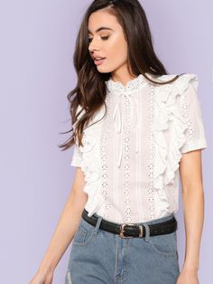 To find out about the Ruffle Trim Eyelet Embroidered Top at SHEIN, part of our latest Blouses ready to shop online today! Hijab Fashion, Girl Fashion, Fashion Dresses, Fashion Terms, Plain Tops, Kinds Of Clothes, Classy Dress, Ruffle Trim, Blouse Designs