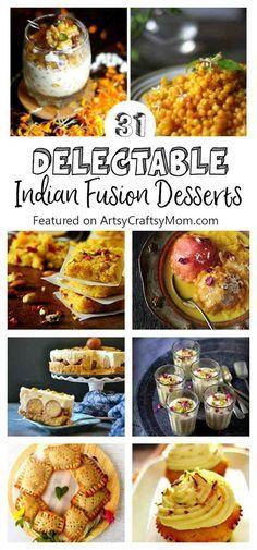 This festive season try modern, artisanal versions of Desi mithais with these 31 recipes of Delectable India Fusion desserts! - Turmeric Icecream, mango lassi cupcakes, avacado kalakand , Boondi Parfait, Jamun ice cream, Kiwi Sondesh, Gulab jamun cheesecakes and so much more! via @artsycraftsymom