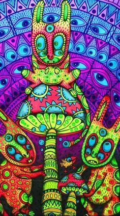 ☯☮ॐ American Hippie Bohemian Psychedelic Art ~ Mushroom Eyes Forest party