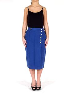 Blue garment dyed linen Chanel Boutique skirt from A.N.G.E.L.O. VINTAGE PALACE