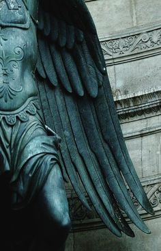 A tip of his wings .Statue of the Archangel Michael at Chateau St Michel ~ Paris Archangel Uriel, Archangel Michael, My Demons, Angels And Demons, Angel Statues, Greek Statues, Buddha Statues, Stone Statues, Angels Among Us