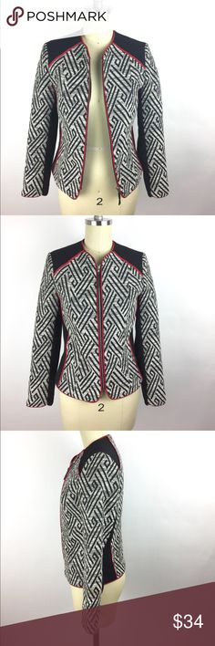 H&M Blazer 2 Geometric Textured Career Jacket H&M zip front textured career blazer. Red piping, all over geo print. Fully lined. Cotton blend. True size 2. Excellent preowned condition. Machine wash. A03050. H&M geometric career jacket, 2 H&M Jackets & Coats Blazers