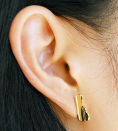 Key Bar Earrings, 15 mm | Minimalist with a distinct key edge, these bar stud earrings a... | Earrings