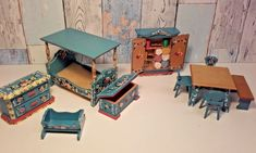 Beautifully painted german dolls house furniture by Dora Kuhn. Unsure of scale, seems slightly bigger than the average dolls house furniture. Including craft/wool accessories/books inside the cupboard. | eBay!
