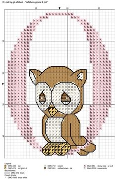 Alfabeto gloria & pat: O = owl Cross Stitch Alphabet Patterns, Cross Stitch Owl, Cross Stitch Letters, Cross Stitch Cards, Cross Stitching, Stitch Patterns, Embroidery Art, Cross Stitch Embroidery, Crochet C2c Pattern