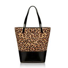 Leopard Print Leather Designer Horsehair Handbag Yellow Tote Bag BL034