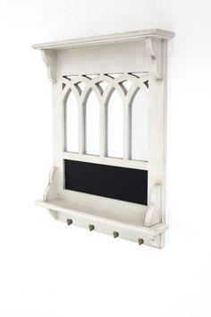 Vintage Versatile Mirrored White Wooden Wall Shelf
