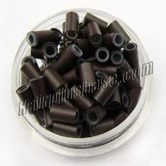 Wholesale 1000pcs Copper Silicone Micro Rings in Black for Micro Loop Hair Extensions (4.0mm*3.0mm*6.0mm)