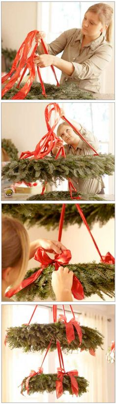 Step-by-step instructions for creating a hanging wreath chandelier | From The Home Depot Holiday Style Guide 2012 and inspired by Martha Stewart