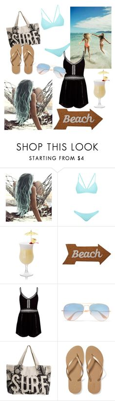 """""""Beach Please"""" by merylrs ❤ liked on Polyvore featuring Bower, Mud Pie, River Island, Ray-Ban, Rip Curl, Old Navy, Summer and beach"""