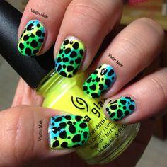 neon cheetah print Photo by vixen_nails
