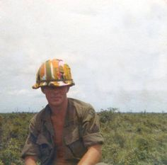 A 25th Infantry Division soldier wearing what will probably go down in history as the strangest helmet cover of the Vietnam War.