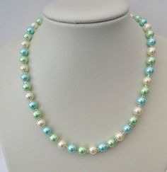 Pale blue, pale green and cream glass pearl bead necklace. Gift or treat