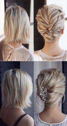 updo wedding hairstyle with headpiece for medium length hairs