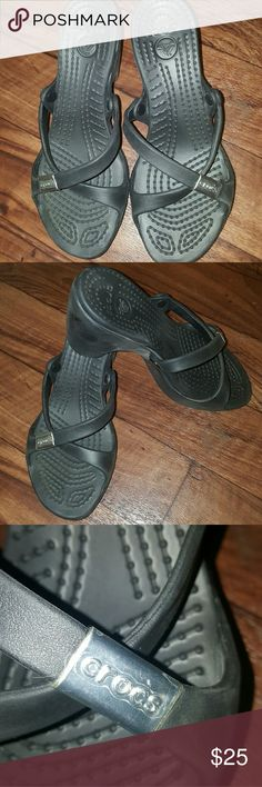 New 8w Crocs wedge heel Bramd new with no box. Plastic covering still over the croc label on shoes. CROCS Shoes Wedges