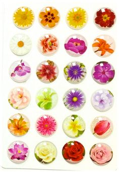 Flower Glitter - 24 Pieces 3D Semi-circular Home Button iPhone iPad Decals Stickers