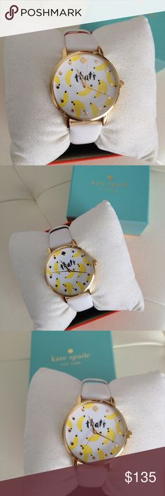 "Kate Spade Women's Metro White Leather Strap Watch White leather strap, round gold-tone stainless steel case, white ""that's bananas"" dial with gold-tone spade at 12 o'clock, dot indices and three hands. kate spade Accessories Watches"