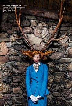 In Schon's FW13 issue, the AW13/14 Red Label Blue Pencil Skirt and Jacket can be seen along with our Georgian necklace.