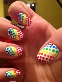 White nails with rainbow polka dots Gay pride free hand nail art Nail Designs 2015, Toe Designs, Pretty Nail Designs, Dot Nail Art, Polka Dot Nails, Polka Dots, Nail Design Video, Nail Candy, Stylish Nails
