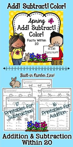 ADD! SUBTRACT! COLOR! 33 spring-themed printables for addition and subtraction for facts to 20.  Each page provides practice for a particular computation strategy (count up, count back, double it, etc.) and there's a built-in number line for kids that need that support!