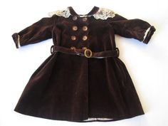 http://www.rubylane.com/item/676693-D16-1/Antique-Velvet-Doll-Dress-Victorian-Silk Darling antique brown velvet Victorian doll dress. Collar, double breasted buttons with hidden hooks and loops underneath, long cuffed sleeves, attached belt wit...