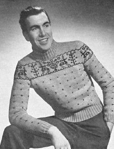 Men Fair Isle Pullover Sweater with Reindeer graph Vintage Knitting Pattern for download 40-42