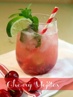 Cherry mojitos are light and refreshing for summer. This one is made with fresh cherries, chocolate mint leaves, lime, and just a little club soda for sparkle.