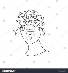 Flower in woman head. Vector line illustration. Line drawing. One Line Black White Drawing Artwork, Minimalist Couple Art, Minim , Face Line Drawing, Drawing Heads, Woman Drawing, Minimalist Drawing, Minimalist Art, Black And White Drawing, Black White, Face Lines, Head Tattoos