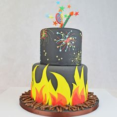 Bonfire Night Cake Bonfire Night Cake, Bonfire Night Food, Bonfire Birthday, 7th Birthday, Birthday Cakes, Birthday Ideas, Bonfire Night Activities, Bonfire Night Crafts, Bonfire Night Celebrations
