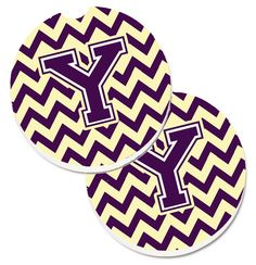Letter Y Chevron Purple and Gold Set of 2 Cup Holder Car Coasters CJ1058-YCARC