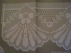 This link is blocked, but this picture is easy enough to read. Filet Crochet, Crochet Borders, Irish Crochet, Crochet Stitches, Crochet Curtains, Crochet Doilies, Crochet Lace, Stitch Patterns, Doilies