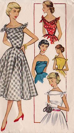 McCalls Dress Pattern No 9418 UNCUT Vintage Size 15 Bust Junior Full Flared Skirt Fitted Bodice Sleeveless Ties at Shoulders 1950s Dress Patterns, Vintage Sewing Patterns, Clothing Patterns, Retro Pattern, Vintage 1950s Dresses, Vintage Outfits, 60s Dresses, Vintage Clothing, 1950s Fashion